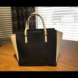 kate spade Bags - Kate Spade Black/White Saffiano Leather Satchel